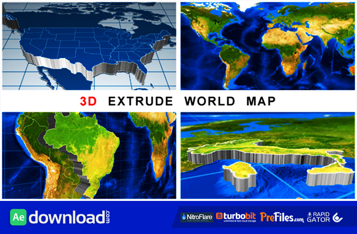 3D Extrude World Map Free Download After Effects Templates