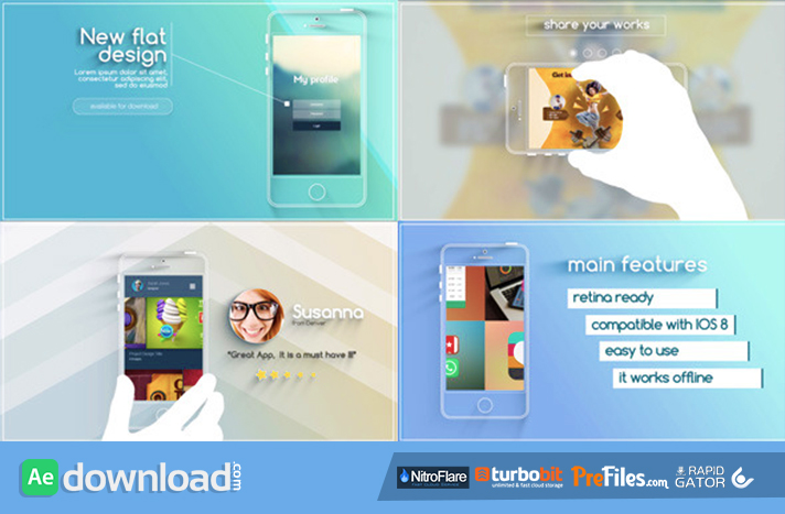 Flat and Modern App Explainer Free Download After Effects Templates
