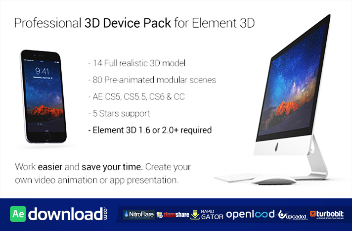 Professional 3D Device Pack for Element 3D