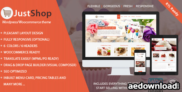 Justshop v6.6 – Cake Bakery WordPress Theme